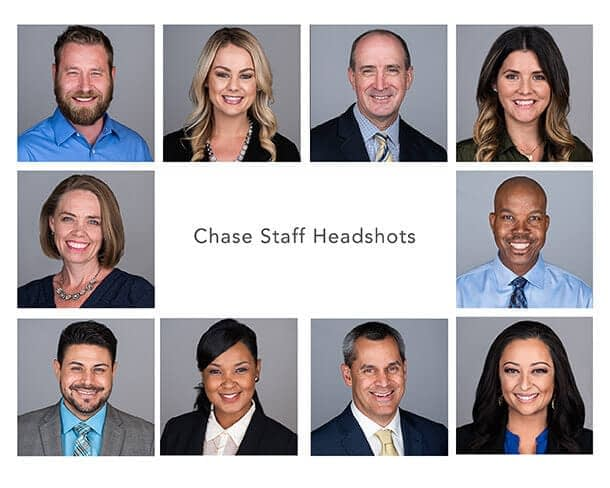 A collage of staff members at Chase.